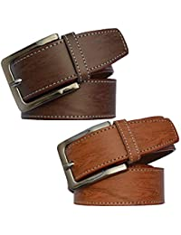 Sunshopping men's Synthetic leather brown and tan needle pin point buckle belts combo (polo-br-tan001)