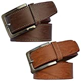 Sunshopping men's Synthetic leather brown and tan needle pin point buckle belts combo