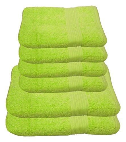 Julie Julsen Handtuch Set 2x Duschtuch 4x Handtuch Limette / in 23 Farben erhältlich weich und saugstark