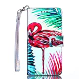 Coque Samsung Galaxy S5, Coffeetreehouse Design élégant et de Haute qualité en Cuir PU Coque Slim-Fit Smart de Coque avec Card Holder Etui pour Samsung Galaxy S5(Flamingo)