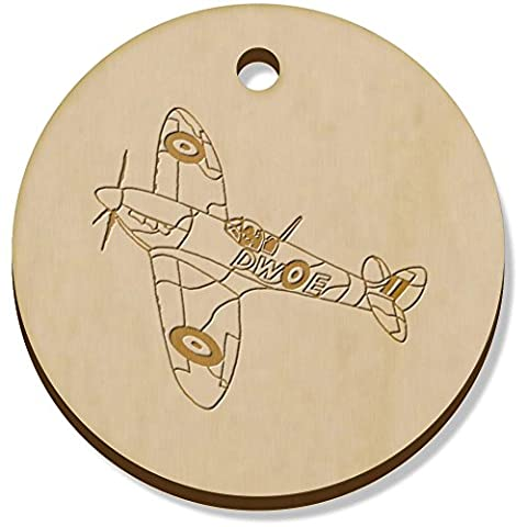 11 x 34mm 'Avion Spitfire' pendentif en bois (PN00022605)