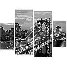 Kicode Patrón Puente Nueva York 3 piezas Set Morden Pintura al óleo Imprimir decorativo del hogar