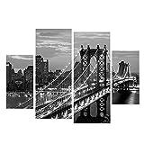 Kicode Patrón Puente Nueva York 3 piezas Set Morden Pintura al óleo Imprimir decorativo del hogar Cuadro...