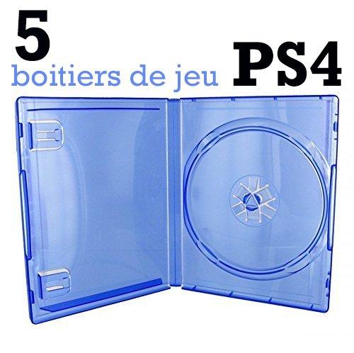 5 leere PS4-Hüllen, blau, transparent