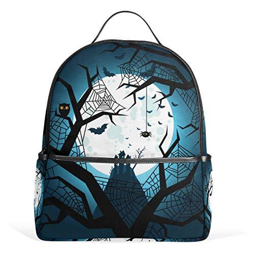 Lupinz Schulrucksack Halloween Fledermäuse Fliegende Nacht leichtes Polyester Büchertasche für Jungen Mädchen