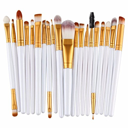 cosanter 20 Stück pro Make-up Kosmetik Pinsel-Set Auge Shadow Pinsel Powder Foundation für Frauen Mädchen, plastik, White + Golden, 15 cm