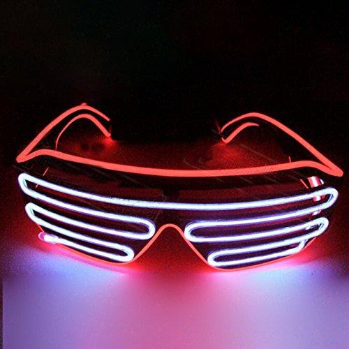 Gladle Gladle EL Draht Rave Sonnenbrille LED leuchten Party Brille Roter Kasten weißer Spiegel