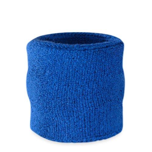 Suddora - Polsino tergisudore in stile atletico, in cotone spugnoso, adatto per sport, Blue