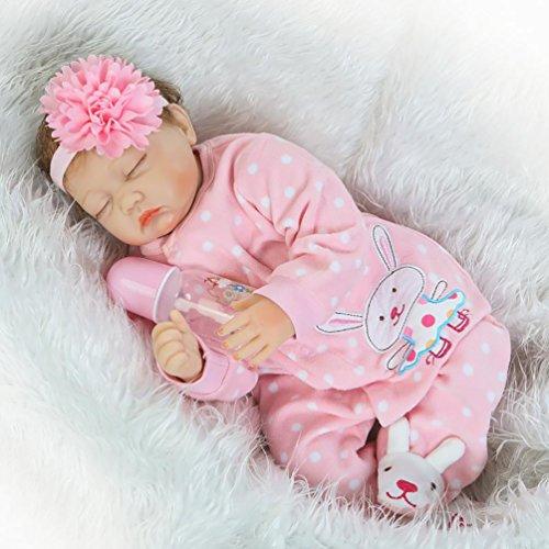 ZIYIUI 22 Zoll 55cm Reborn Babypuppe Weiche Silikon Vinyl Lebensecht Neugeborenes wiedergeborenes Baby Spielzeug Geschenk