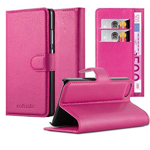 Preisvergleich Produktbild Cadorabo Hülle für Apple iPhone 5 / iPhone 5S / iPhone SE Hülle in Cherry Pink Handyhülle mit Kartenfach und Standfunktion Case Cover Schutzhülle Etui Tasche Book Klapp Style Cherry-Pink