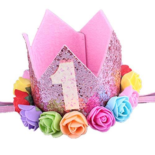 Vektenxi Premium Baby Mädchen Prinzessin 1. Geburtstag Krone Hut Blume Tiara...