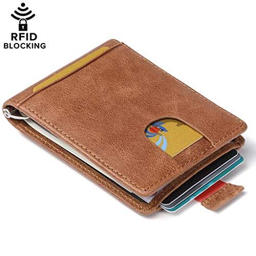 04c3103cdc80b Huztencor Cartera para Hombre RFID Billetera Tarjetas de Credito De Piel  Tarjetero Pequeña y Minimalista Clip
