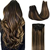 Googoo Clip in Hair Extensions Ombre Natural Black to Light Brown Remy Human Hair Extensions Clip in Real Natural Hair Straight Double Weft Hair Extensions 7pcs/120g 16inch