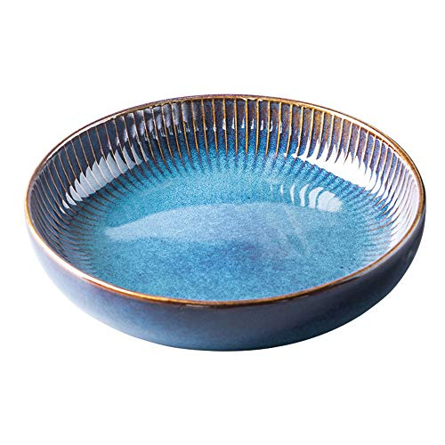 Hoteck Pastateller aus Keramik, Groß Suppenteller Oder Speiseteller, Premium Porzellan 21cm Blau(1PCS)