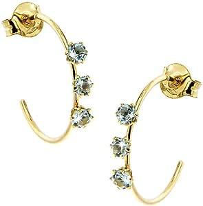 Lucchetta Gioielli d'Oro per Donna - Orecchini Trilogy Topazio Blu Naturale - Cerchio in Oro Giallo 18 carati - Made in Italy Certificato, BR8673