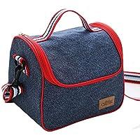 Bolsa para comida isotérmica, de tela vaquera, color azul, a la moda, con correa ajustable para el hombro y bolsa enfriadora, bolsa para mamá, bolso de viaje, bolsa de la compra, con cremallera, aluminio, estilo B