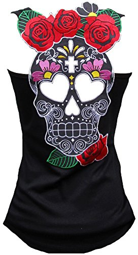 Rockabilly Punk Rock Baby Damen Tank Top Shirt Schwarz Muerte Mexican Skull S (Rockabilly Punk Rock)