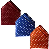 Sunshopping men's multi coloured polka dotted pocket Square pack of three(combo) (Maroon Royal blue Orange)