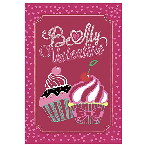 Oremovqweenry Gartenflagge Be My Valentine Cupcake House Flagge, doppelseitig, 31,8 x 45,7 cm, dekorative Liebes-Welcome-Flagge