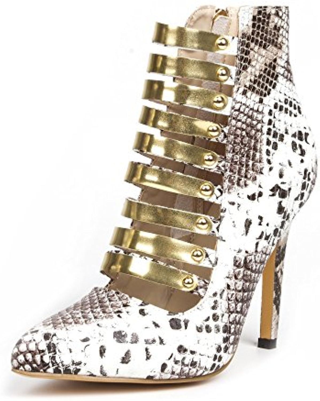 VIVIOO Prom Sandals scarpe,Fashion Novelty,argento Novelty,argento Novelty,argento Snake Pu,oro Trim,11 Cm High-Heeled scarpe,Pointed Toe Pumps.Dimensione... | Pratico Ed Economico  f59451