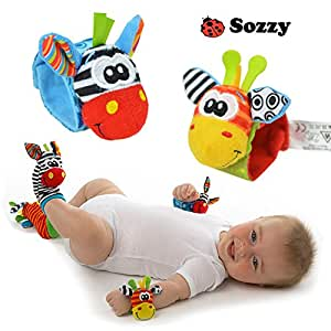 Creation® 4 x Animal Infant Baby Kids Wrist Rattle & Foot Finder Set Developmental Soft Toys (set-1)