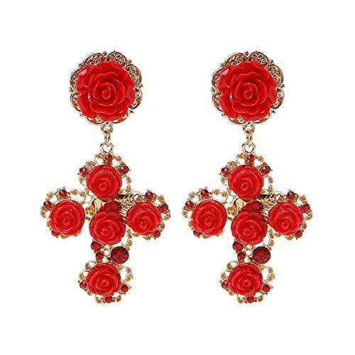 XAFXAL Orecchini,Bella Lavorazione Barocco Gotico Rosa Rossa Croce in Oro Orecchini A Pendente Nuziale Orecchini