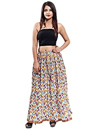 Gaurangi Women's Cotton Designer Beige Floral Printed Long Skirt