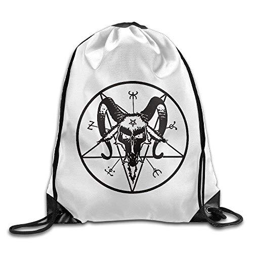 Etryrt-Bags Unisex Turnbeutel/Bedruckte Sportbeutel, Premium Drawstring Gym Bag, Unisex Satan Face Symbol-Goat Head Sports Drawstring Backpack Bag