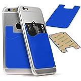 URCOVER Cover Porta Tessere Adesiva Universale | Custodia Carte di Credito TPU in Azzurro | Retro Portafoglio Accessori Smartphone Cellulare