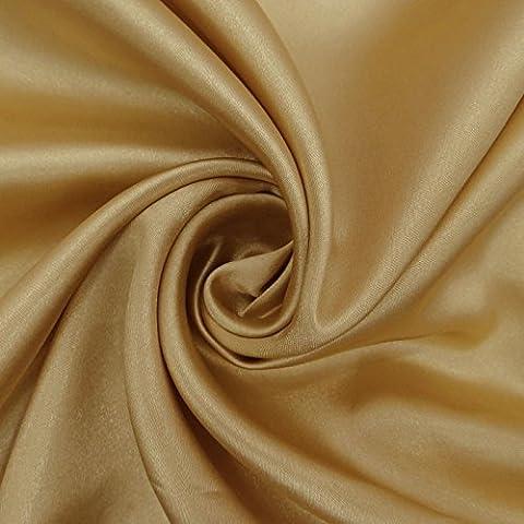Faux satén tela de seda sólido de color beige brillante de corte y confección coser de las telas Por El