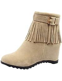0ebbd7e76f41a Y2Y Studio Femmes Chaussures Bottines Indiennes avec Frange et Boucle de  Ceinture à Talons Compensees 6.5