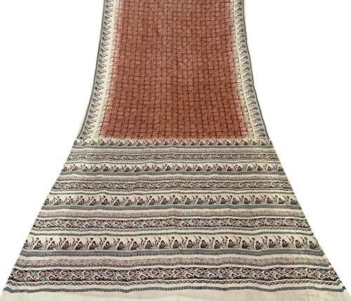 Sari Aus Reiner Seide (Vintageandyou Batik & Floral saree Saree aus reiner Seide Rose braun saree indisches Handwerk bedruckter Sari-Stoff 100% Seide)
