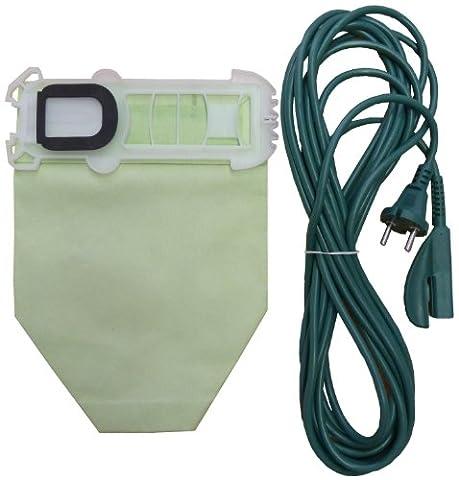 Mister vac A919 Lot de 12 sacs en papier pour aspirateurs Vorwerk Kobold VK 135 / 136 + 1 câble de branchement secteur 7 m
