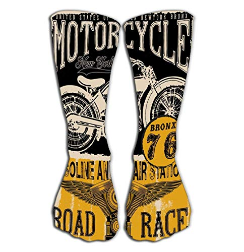 LULABE Outdoor Sports Men Women High Socks Stocking motorcycle label design custom chop chopper fashion style Tile length,Socks size:20 inches(50CM) Good Grips Chopper