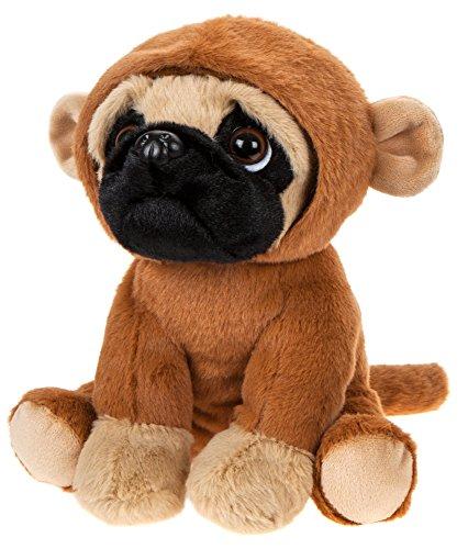 Kuscheltier Hund Mops verkleidet mit Affenkostüm, Stoffhund ca. 20 cm