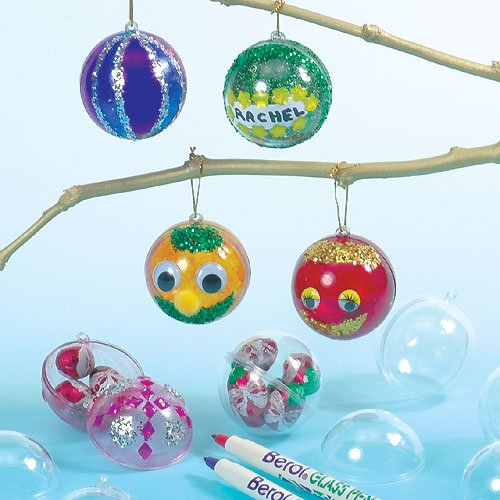 Baker Ross Transparent Baubles for Children to Decorate and Hang on Christmas Tree (Pack of 12)