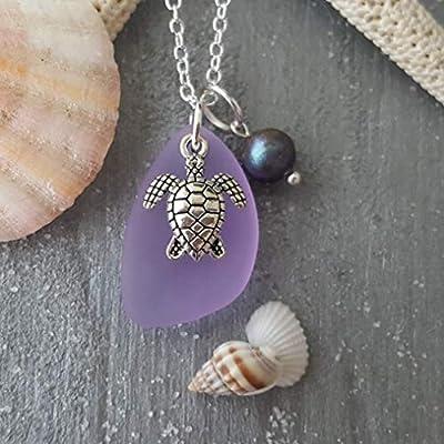 """Fait à la main à Hawaii, collier en verre marin""""Magical Color Changing"""", perle d'eau douce, charme de tortue, chaîne en argent sterling, emballage-cadeau,""""Pierre de naissance de février"""""""