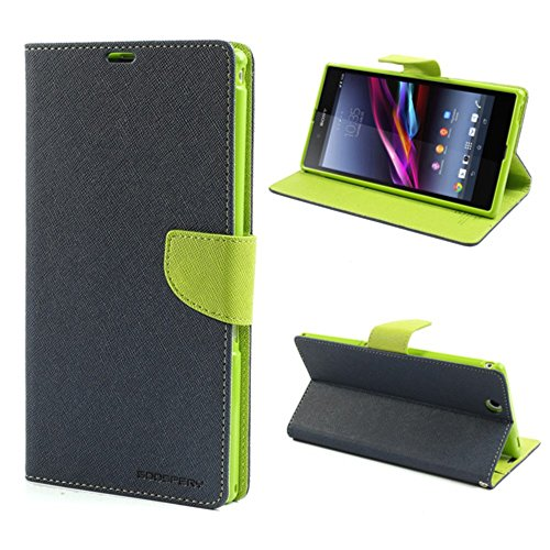 Mercury Goospery Fancy Diary Leather Tasche Hüllen Schutzhülle for Sony Xperia Z Ultra C6806 C6802 XL39h- Green / Dark Blue