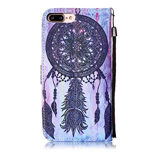 Custodia iphone 7 Plus, iphone 7 Plus Case, Cozy Hut ® Retro Colorful Drawing Art Painted Premium PU Leather Magnetic Flip Wallet Cover with Detachable Hand Lanyard & Card Slots & Stand Function for A Viola Dreamcatcher