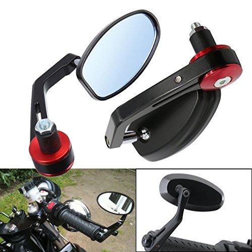 """ViZe 7/8"""" 22mm Specchietti Moto Retrovisori Specchio Posteriore Universale Per Yamaha Honda Triumph Ducati Motivo Nero"""