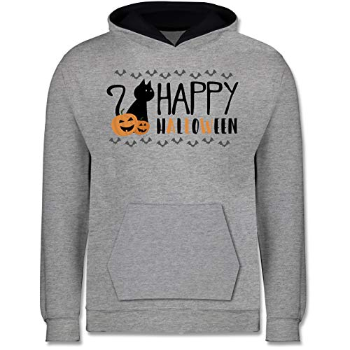 Shirtracer Sprüche Kind - Happy Halloween - 7-8 Jahre (128) - Grau meliert/Navy Blau - JH003K - Kinder Kontrast Hoodie