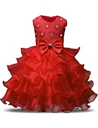 2129d7f7 NNJXD Girl Dress Kids Ruffles Lace Party Wedding Dresses
