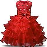 NNJXD Vestito da Ragazza Festa in Pizzo per Bambini Abiti da Sposa Taglia(90) 12-24 Mese Rosso