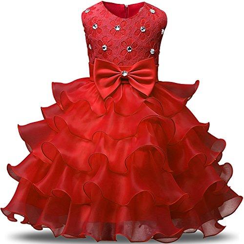 NNJXD Mädchen Kleid Kinder Rüschen Spitze Party Brautkleider Größe(130) 5-6 Jahre Rot