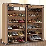SHAY Bastidor de Zapatos Organizador de Almacenamiento de Zapatos Torre del gabinete con Tela no Tejida Cubierta de Zapatos portátil Rack Doble Fila,Brown