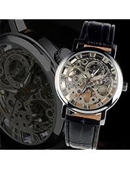 Central World - Reloj de pulsera, transparente, engranajes a la vista, esfera redonda, tonos plateados