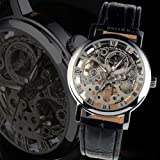 Central World Gewinner Transparent Skelett Mechanische Uhr mit Rund dial-silvery