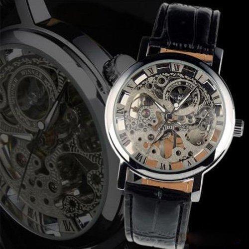 Batterien Bulova Uhren Für (Central World Gewinner Transparent Skelett Mechanische Uhr mit Rund dial-silvery)