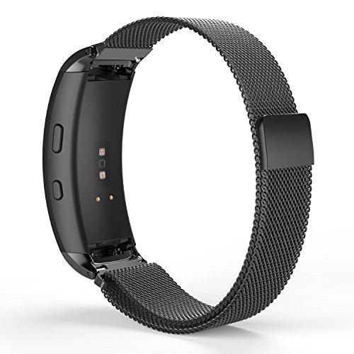 Samsung Magnet (MoKo Samsung Gear Fit 2 / Fit2 Pro Armband - Milanese Magnet Uhr Band Strap Uhrenarmband Erstatzband Replacement für Samsung Gear fit 2 SM-R360 / SM-R365 Smartwatch, Bandlänge 150mm-250mm, Schwarz)