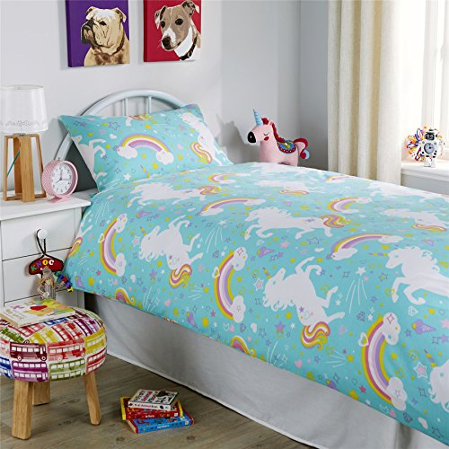 Olivia Rocco Unicorn Duvet Cover Set, Cotton Blend, Duck Egg or Pink, Single